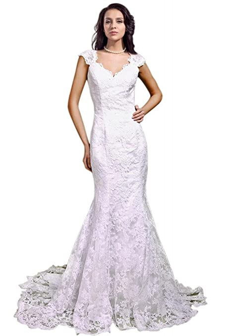 GEORGE BRIDE Women's V-Neck Capped Sleeves All-Over Lace Applique Gown