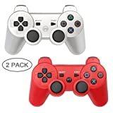 PS3 Controller 2 Pack Wireless Bluetooth 6-Axis Gamepad Controllers for PlayStation 3 Dualshock 3 (Silver+Red) (Color: Silver+Red)
