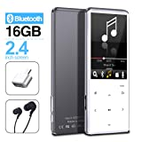 MYMAHDI MP3 Player with Bluetooth 4.2, Touch Buttons with 2.4 inch Screen, 16GB Portable Lossless Digital Audio Player with FM Radio, Voice Recorder, Support up to 128GB, Silver (Color: Silver-16GB)