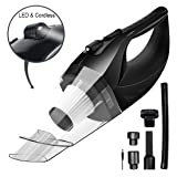 Wireless Car Vacuum Cleaner DC 12V 120W Wet Dry Auto Dustbuster Portable Handheld Auto Vacuum Cleaner for Car 4000Pa Suction Car Hoover with HEAP Filter&5Meters LED Light Car & Home Cleaner (Black) (Color: Black)