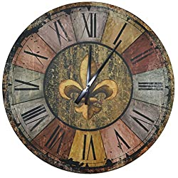 Lulu Decor, Vintage French Country Style Rustic Round Wood Wall Clock with Fleur De Lis in Middle, Large Roman Numerals, Clock Diameter 23.5, Perfect for Housewarming Gift (Vintage)