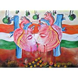Terrorism Never Can Defeat Love Oil on Canvas Contemporary Art Painting by an Indian Artist Kamal Sharma 91.44 x 121.92 cmsby DakshCraft