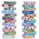 24 Rolls Washi Tape Set- 8mm Wide Decorative Masking Tape for DIY Craft Scrapbooking Gift Wrapping
