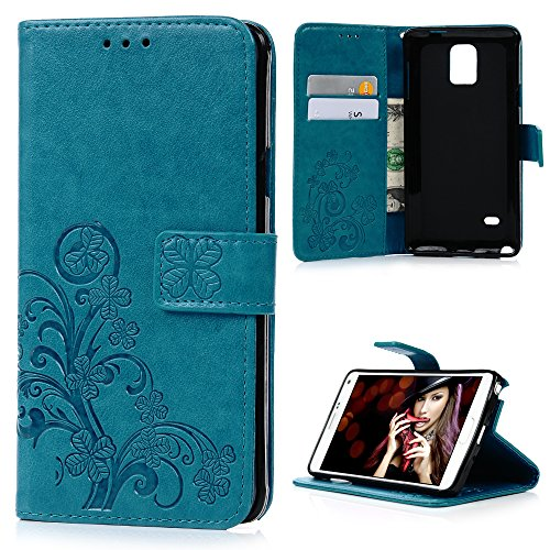 Note 4 Case,Samsung Galaxy Note 4 Case - Badalink Fancy Vintage Embossed Clovers Premuim PU Leather Texture Ultra-thin Slim Fit Soft TPU Inner Cover with Magnetic Clip & ID/Credit Card Holders - (Make Believe Fancy Dress)