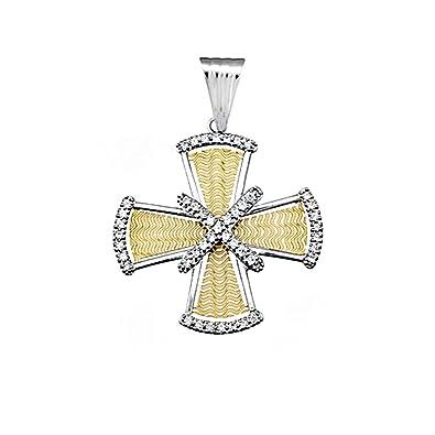 18k gold cross bicolor zircons [AA4951]
