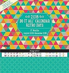 Orange Circle Studio 17-Month 2016 Do It All Magnetic Wall Calendar, Retro Days