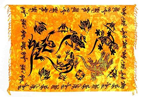 Ca 50 modelli, Sarong Pareo avvolgente, gonna, telo mare stile: Dhoti Tye Dye Batik Bali Gecko Orange taglia unica