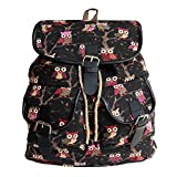 #3: BRANDX Imported Owl passion light weight Canvas Backpack Cute Travel School College Shoulder Bag/Bookbags for Teenage Girls/Students/Women/ Girls-Black Color (US Best Seller) Owlp3500B