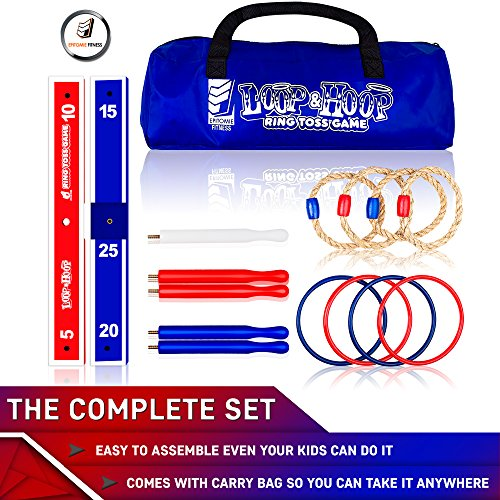 Loop & Hoop Ring Toss Game (Premium) - Kids & Adults Games Set With 4 Quoits Rope Rings, 4 Plastic Rings & Carry Bag (Indoor & Outdoor Family And Carnival Fun)