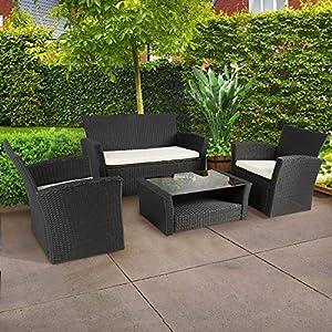 Walcut 4 PCS Rattan Patio Black Weatherproof Rattan Wicker Furniture Set Garden Lawn Sofa With Cushion And Table from Walcut Inc