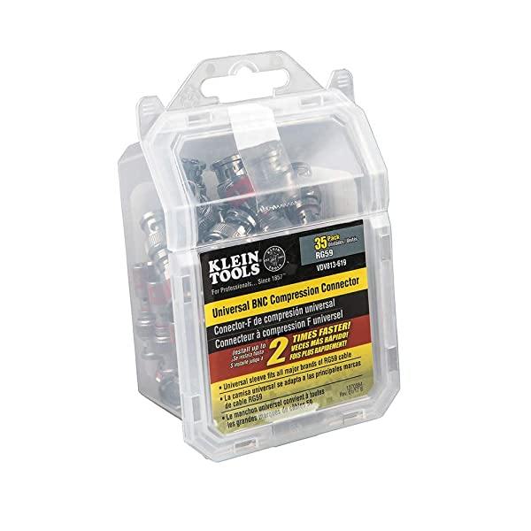 Klein Tools VDV813-619 Universal BNC Compression Connectors With Universal Sleeve Technology, 35-Pack (Tamaño: 35-Pack)