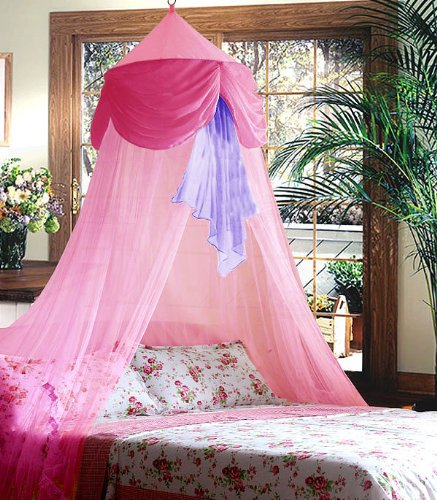 Pink & Purple Chiffon Furbelow Princess Bed Canopy By Sid