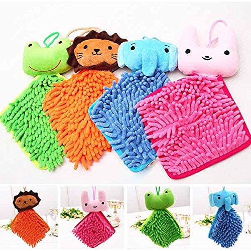 Lovely Cartoon Hanging Hand Towel Chenille Hanging Bath Towel For Kitchen Bathroom Office Car Use-Color Random