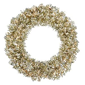 "48"" Pre-Lit Champagne Wide Cut Tinsel Artificial Christmas Wreath - Clear Lights"