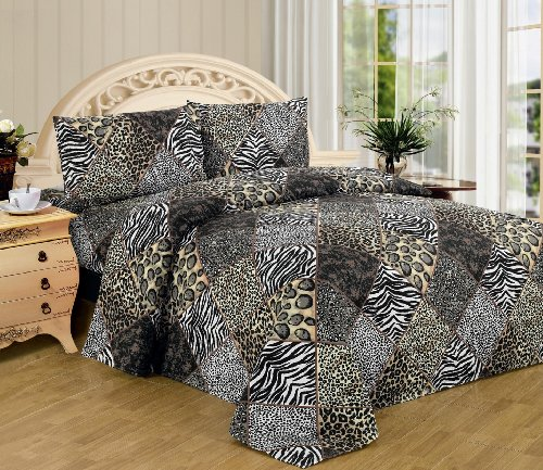 Black White Leopard Zebra King Size Sheet Set 4 Pc Safari Animal Print Pillow Shams Bedding front-896549