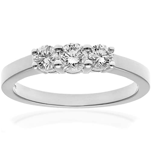 Naava Platinum Trilogy Ring, IJ/I Certified Diamonds, Round Brilliant