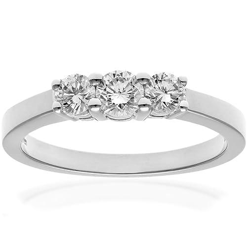 Naava Platinum Trilogy Ring, IJ/I Certified Diamonds, Round Brilliant