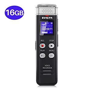 EVISTR 16GB Digital Voice Recorder Voice Activated Recorder with Playback - Upgraded Small Tape Recorder for Lectures, Meetings, Interviews, Mini Audio Recorder USB Charge, MP3 (Color: Black -16GB, Tamaño: 16GB)