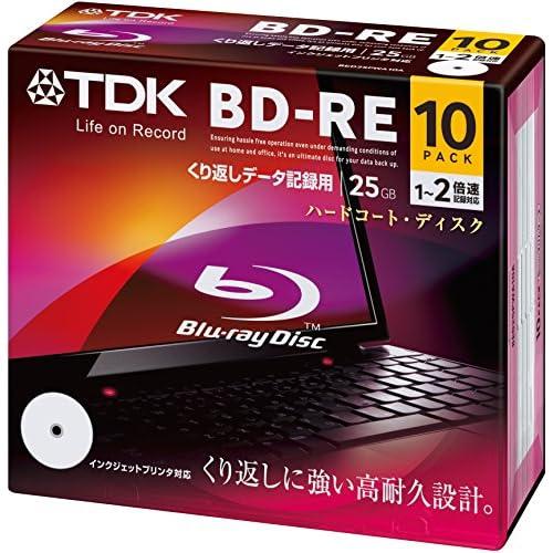 TDK データ用ブルーレイディスク BD-RE 25GB 1-2倍速 ホワイトワイドプリンタブル 10枚パック 5mmスリムケース BED25PWA10A