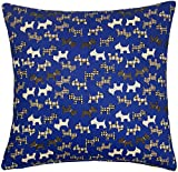 FILLED SCOTTIE DOG CHECK NAVY 100% COTTON 43CM CUSHION PILLOW SHAM MADE IN THE UK *CT*