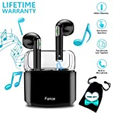 Wireless Earbuds Stereo,Bluetooth Headphones Earphones Earbud with Mic Mini In-Ear Earbuds Earphones Earpiece Sweatproof Sports Earbuds with Charging Case for Apple iPhone X 8 7 6 Plus Samsung Android (Color: Black, Tamaño: Black)