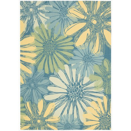 Nourison RS022 Home and Garden Rectangle Machine Printed Rug, 7.9 by 10.10-Inch, Blue