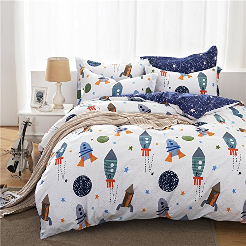 brandream boys galaxy space bedding set kids bedding set duvet cover full queen size. Black Bedroom Furniture Sets. Home Design Ideas