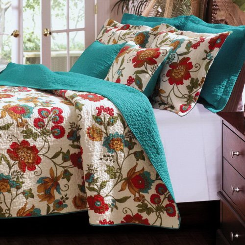 Tropical Floral Cotton Reversible Blue/Green Teal Bedding Quilt Set King front-283078