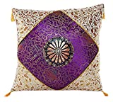 Embrace Cotton Blend Home Decorative Traditional Floral Printed Fringe Throw Pillow Cushion Cover Case Purple