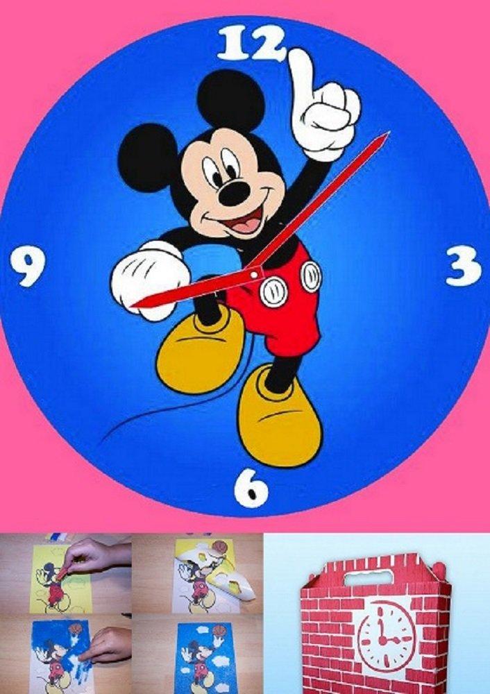 Kinder Wanduhr Mickey Mouse zum selber machen mit buntem Glitzersand jetzt kaufen
