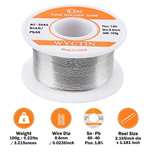 WYCTIN Diameter 0.6mm 100g 60/40 Active Solder Wire With Resin Core for Electrical Repair Soldering Purpose (Color: Silvery, Tamaño: 0.6mm/100g)
