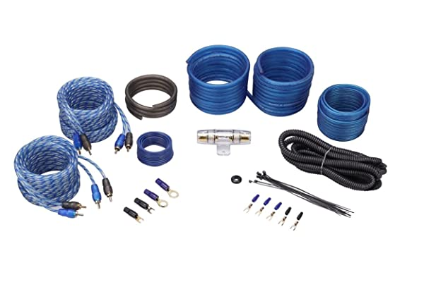 Rockville RWK82 8 Gauge 4 Chan Car Amp Wiring Installation Wire Kit (2) RCA's (Color: Black, Tamaño: 8 Gauge, 4 Channel)