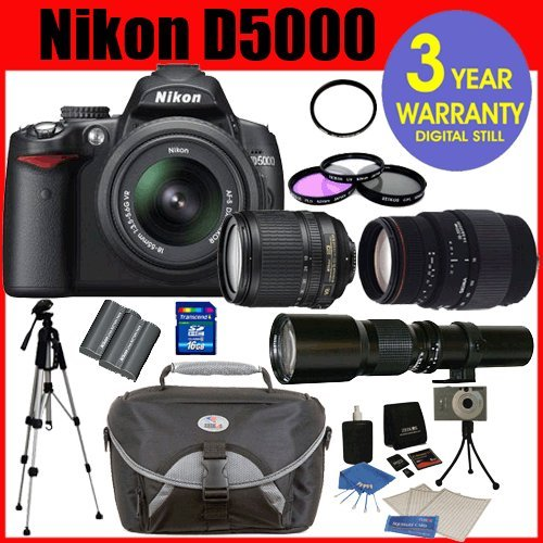 Nikon D5000 Digital Slr Camera With Nikon 18-55Mm F/3.5-5.6G Vr Lens And 2.7-Inch Vari-Angle Lcd + Sigma 70-300Mm Macro Zoom Lens + Rokinon 500Mm Hd Telephoto Zoom Lens With 2X Converter (=1000Mm) +Extra High Capacity Li-Ion Battery + 16Gb Memory Card + 5