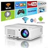 LED LCD WXGA Smart HD HDMI Home Theater Outdoor Bluetooth WiFi Projector Portable Wireless Android 1080P Airplay Support Movie Video Game Projector for Apple iOS iPhone Basement DVD Player (Color: 3600Lumen WXGA Bluetooth Wifi Projector)