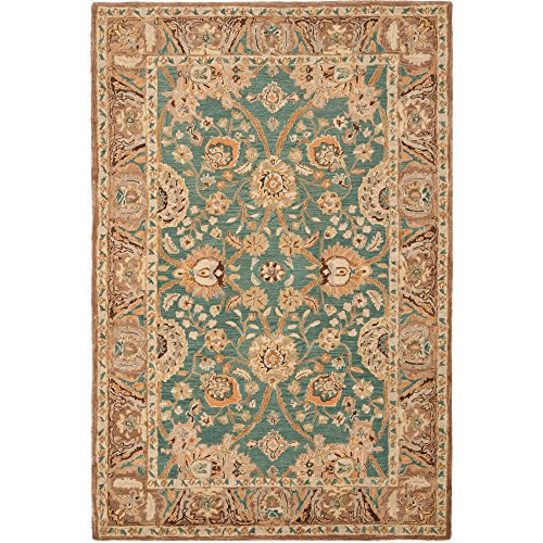 Safavieh Anatolia Collection AN558D Handmade Teal and Camel Wool Area Rug, 9 feet by 12 feet (9' x 12')