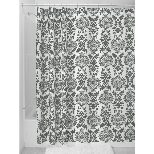 Interdesign damask fabric shower curtain 72 x 72 for Charcoal bathroom accessories