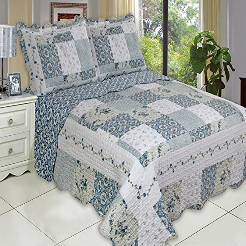 Country Cottage Blue Floral Patchwork Quilt Coverlet Set King Size Oversized