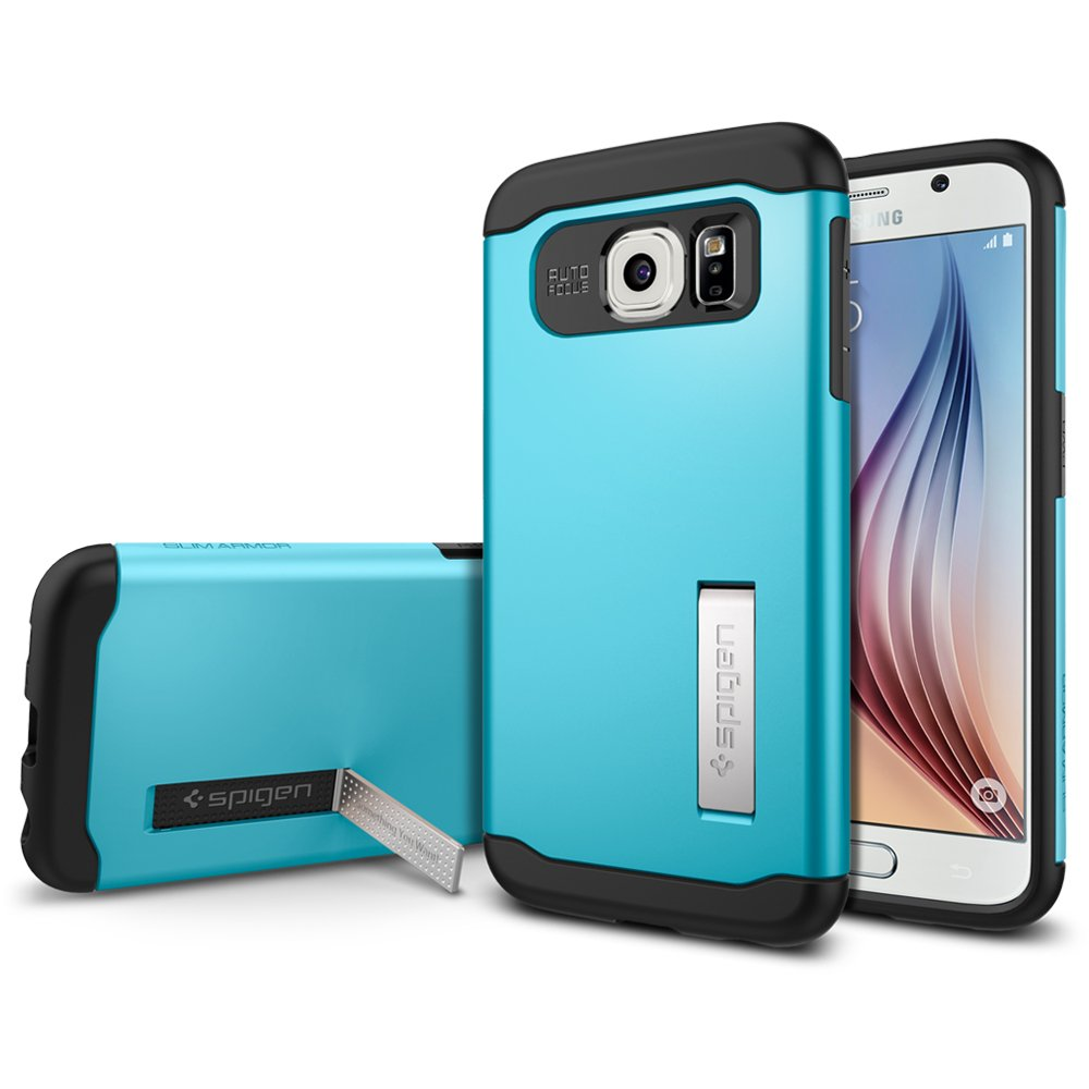 new style 5743f 2af2d [Ori] Spigen Slim Armor Case [KICK-STAND] for Samsung Galaxy S6