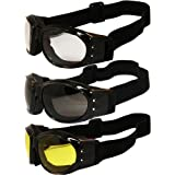 Three (3) Pairs Padded Motorcycle Goggles Airsoft Googles Comes with Clear, Smoke, and Yellow Day and Night riding comfort You Should Have Googles For Any Weather Condition (Color: smoke)