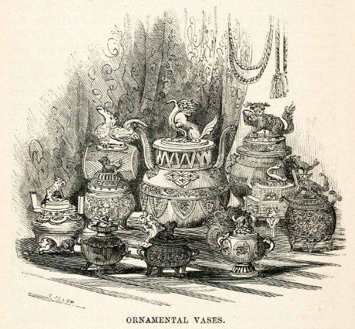 1859-wood-engraving-ornamental-vase-temple-japanese-edo-period-dragon-lion-tiger-original-in-text-wo