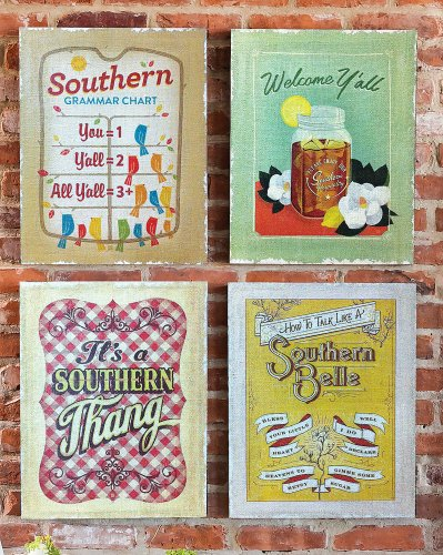 Southern Charm Burlap Wall Canvas Set