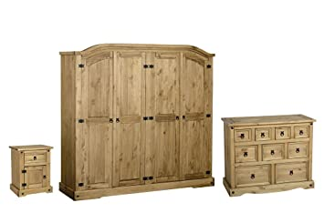 Seconique Corona 3 Piece Bedroom Set - 4 Door Wardrobe + 4+3+2 Drawer Chest + 1 Drawer 1 Door Bedside Cabinet - Waxed Pine Colour