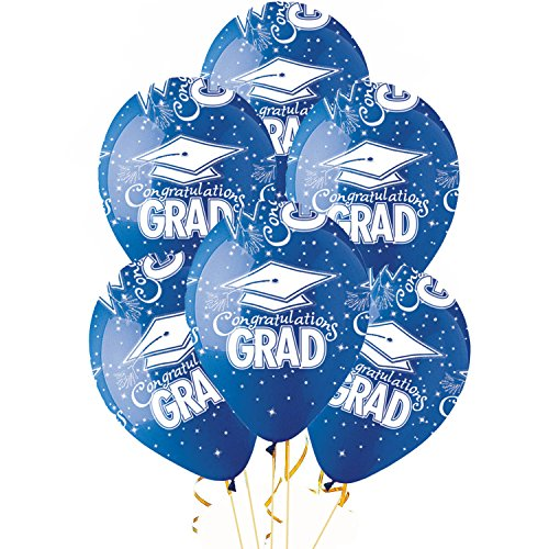 """Balloons 11 Inch Premium """"Made in the USA"""" Latex Blue with white Congrats Grad Cap Pkg/12"""
