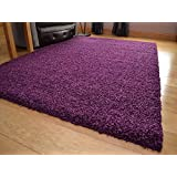Soft Touch Shaggy Plum Thick Luxurious Soft 5cm Dense Pile Rug. Available in 7 Sizes (120cm x 170cm)