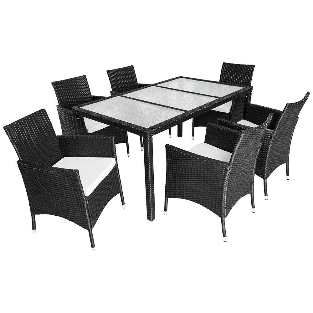 TecTake® Poly Rattan Gartenmöbel Gartengarnitur Essgruppe Gartenset Sitzgruppe 6+1 schwarz
