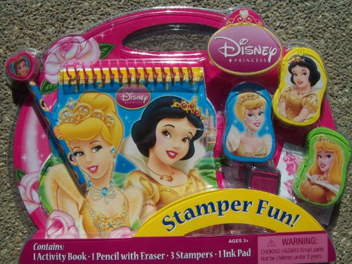Disney Princess Stamper Fun Contains 1 Activity Book, 1 Pencil with Eraser, 3 Stampers and 1 Ink Pad - 1