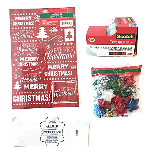 Assorted Christmas Gift Boxes Bundle: 47 pieces Includes gift boxes, gift tissue, gift bows, and tape (Tape Dispenser Kitten compare prices)