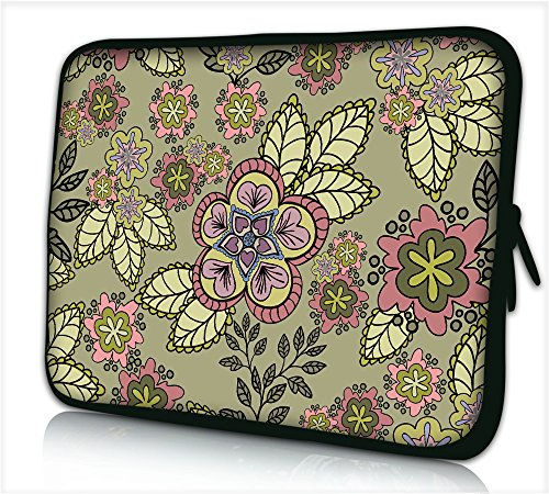 Laptop Sleeve  Case 11 Inch,  Floral Pattern Neoprene Protective Pouch Bag Cover Case