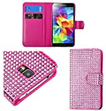 myLife Bright Shocking Pink Diamond - Glamorous Design - Koskin Faux Leather (Card, Cash and ID Holder + Magnetic Detachable Closing) Slim Wallet for NEW Galaxy S5 (5G) Smartphone by Samsung (External Rugged Synthetic Leather With Magnetic Clip + Internal Secure Snap In Hard Rubberized Bumper Holder)