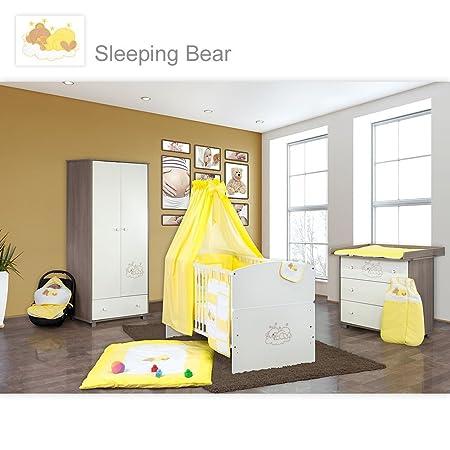 Babyzimmer 10-tlg. in Sonoma-Cream mit 2 turigem Kl. + Set Sleeping Bear Gelb
